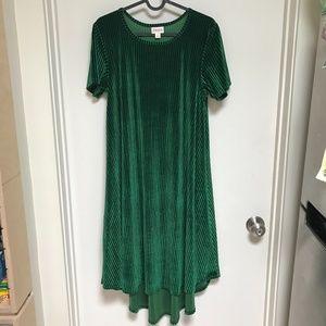 LuLaRoe Green velvety style dress Size S